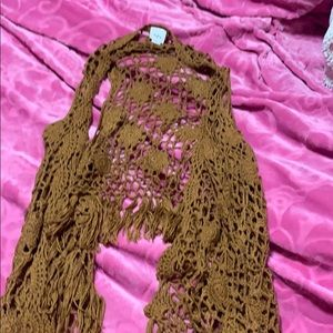 Crocheted fringe vest